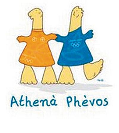 2004年雅典奥运吉祥物athena和phevos.乾隆马球唐朝打壁画图图片