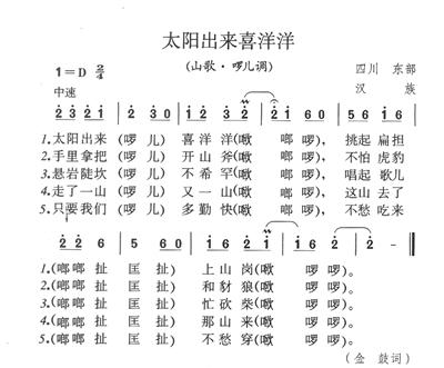 赵雷民谣歌谱阿刁简谱-喜洋洋 名家说民歌