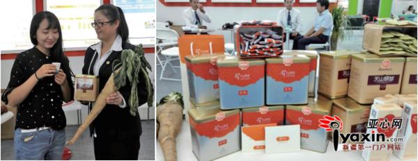"""一位女孩在试用""""天山硕参""""功能食品。右图:新疆正生农业资源开发研究院开发的""""天山硕参""""功能食品 。亚心网首席记者 于江艳 摄"""