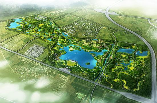 植物景观配置形式主要为乡土板块林和草花地被相结合,保留现状杨树林.