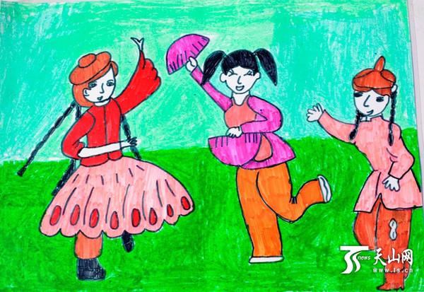 哈巴河县小学生创作 民族团结一家亲 主题绘画作品