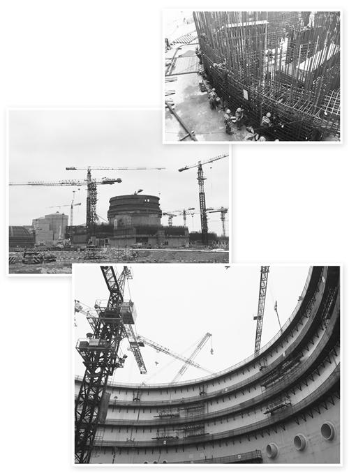 华龙一号核岛内部使用了大量加强型钢筋.经济日报记者 王轶辰摄