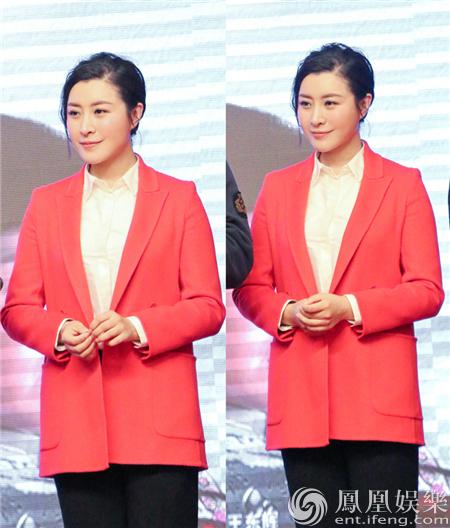 王雅捷亮相《于成龙》发布会 一席红衣喜气洋洋