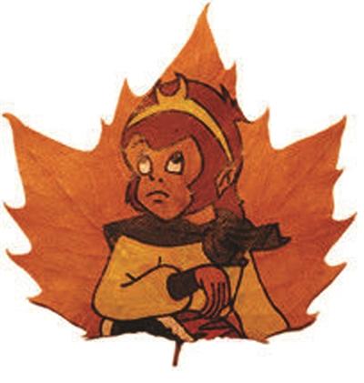 如何在落叶上,绘出精美图画?图片