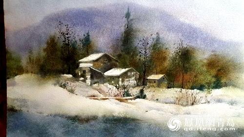 现场这幅美丽乡村的雪景水彩画吸引大家驻足欣赏,著名画家高东方接受
