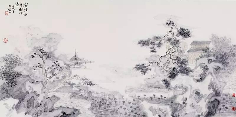国一金典签约画家于亨作品《荷塘载园》