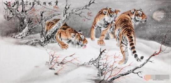 工笔画大师精品佳作 王建辉八尺横幅工笔动物画《雪域雄风》
