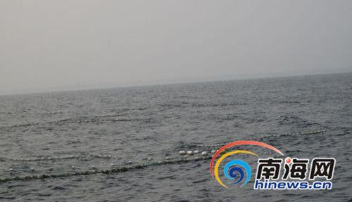 翁田海域可见浮标,有人布下定置网捕鱼。