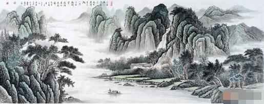【评析】画家薛大庸的此幅山水画以古诗入景,此图峰江幽深,云烟弥漫