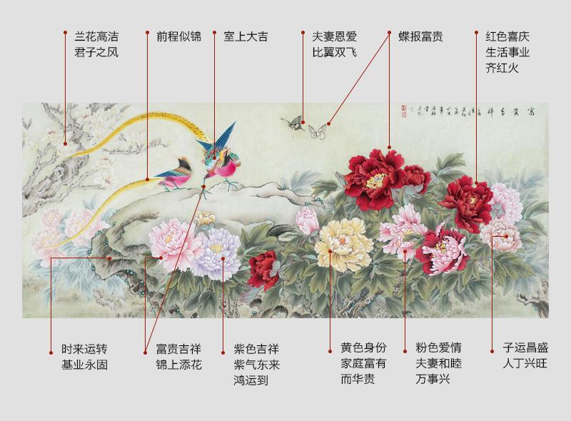 当代工笔画名家萧红牡丹锦鸡图《富贵吉祥》 (作品来源:【易从网】