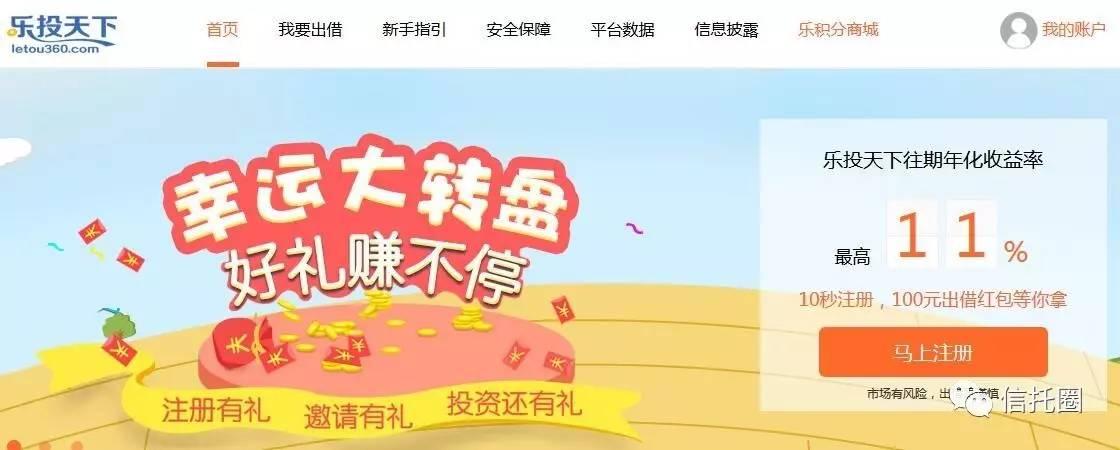 """消息称网贷平台""""乐投天下""""跑路 体量16亿"""