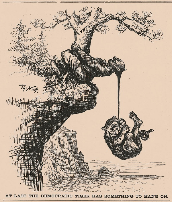 千鈞一發( At Last the Democratic Tiger Has Something to Hang On),《哈潑斯周報》1882年4月22日,256頁。