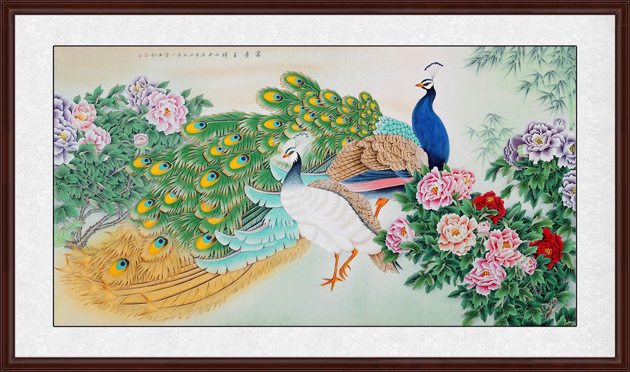 居装饰画王一容工笔画孔雀牡丹图《富贵呈祥》作品出自:易从网-