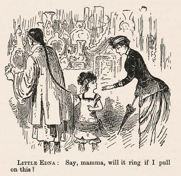 媽媽,鈴鐺會響嗎?(Say, Mamma, Will It Ring if I Pull This?),《馬蜂雜誌》1889年10月5日,5頁。