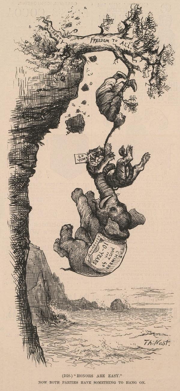 """自取之辱([Dis]""""Honors Are Easy.""""Now Both Parties Have Something to Hang On),《哈潑斯周報》1882年5月20日,317頁。"""