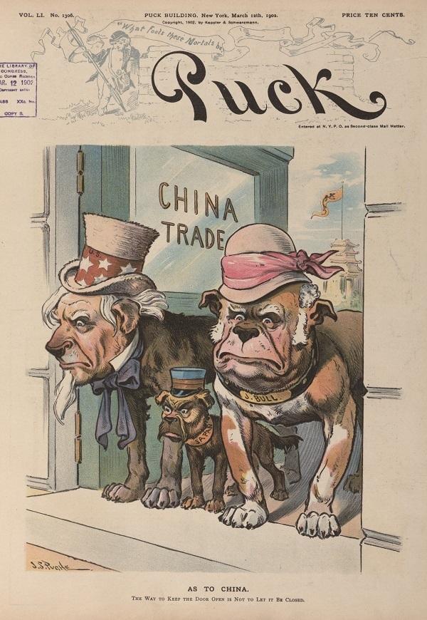 中国贸易之门( As to China),《顽童杂志》1902 年3 月12日,封面。