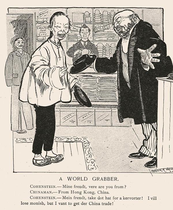 华工买帽( A World Grabber),《顽童杂志》1902年4月16日,6页。