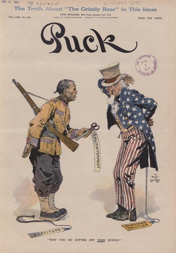 剪掉你的辮子(Why You No Cuttee off Your Queue?),《頑童雜誌》1912年1月31日,封面。