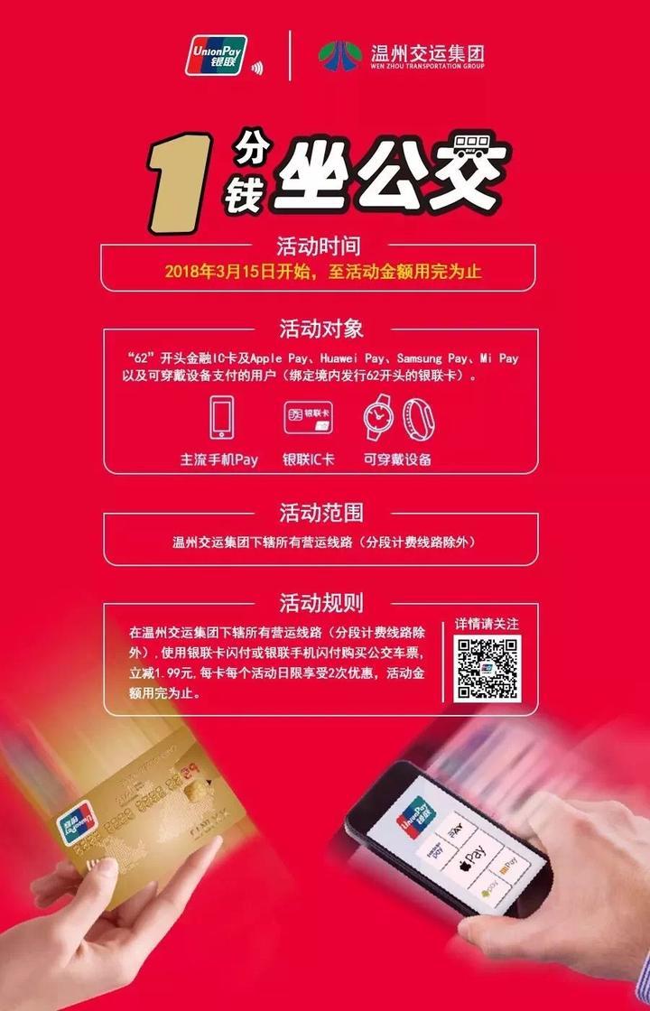 好消息!最近刷银联卡在温州市区乘公交只需1分钱!