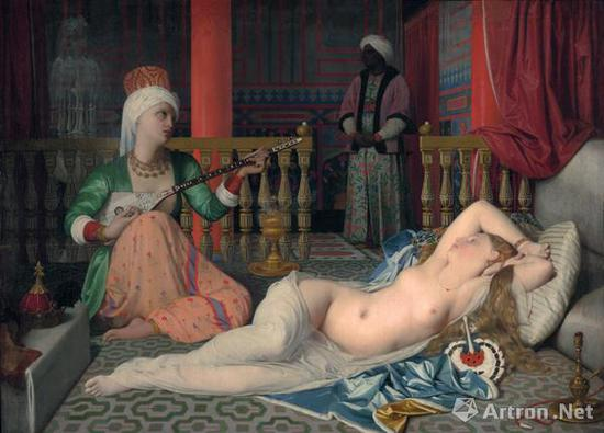 安格尔《宫娥》1839-1840年哈佛大学美术馆藏