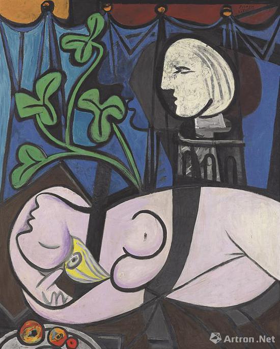 毕加索《裸体,绿叶和半身像》2010年在佳士得拍出1.04亿美元高价