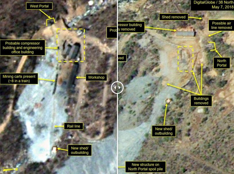 卫星照片显示朝鲜正在拆除核试验场部分设施