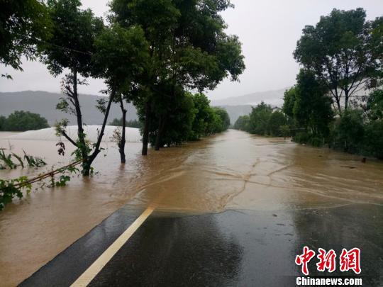 通往广元昭化古城的道路被洪水淹没中断。 李建生摄