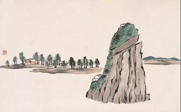 """《寄园日记》中的小姑山写生稿 晚年时,客居北京的齐白石却愈发怀念家乡惬意的田园生活,这一时期所作的山水画多是远游时期写生稿与记忆中家乡景色的融合,画中也常漾起思乡情怀。又因为白石老人尤其钟爱桂林的山,曾有诗言:""""自有心胸甲天下,老夫看惯桂林山。曾经阳羡好山无,峦倒峰斜势欲扶。""""所以在其晚年的山水画中山体多是借鉴桂林山,再结合对家乡的记忆,创作出一幅幅既真实又虚幻的""""家乡""""之景。此次展出的重庆中国三峡博物馆藏《山水十二条屏》是齐白石晚年山水画的扛鼎之作。此套"""