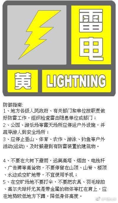 北京雷电黄色预警生效中 降水集中在午后到夜间