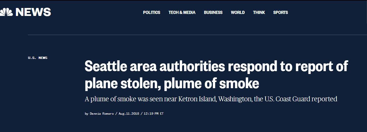 不明身份人员在美机场偷走一架飞机 已有战机起飞拦截