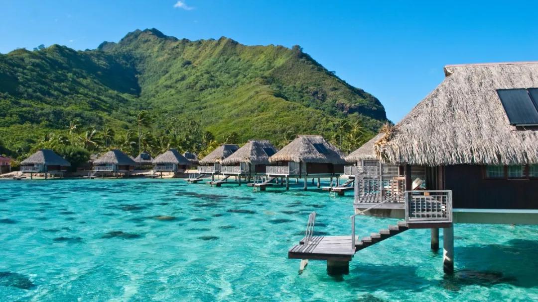 莫雷阿的水屋是海岛水屋的鼻祖,居住在海水清浅的浅蓝色泻湖之上,连