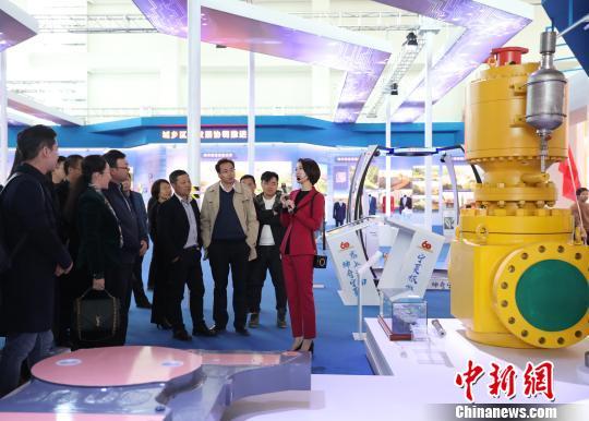 参观宁夏工业发展展区。 胡耀荣摄