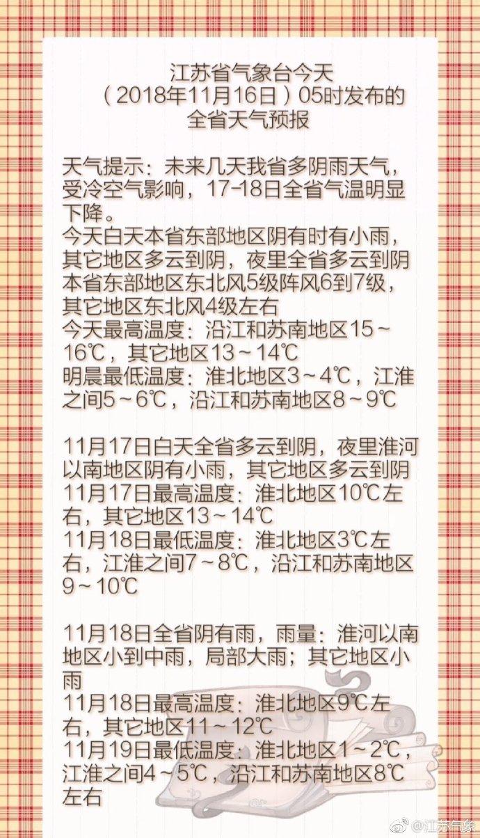 未来几天 江苏多阴雨天气