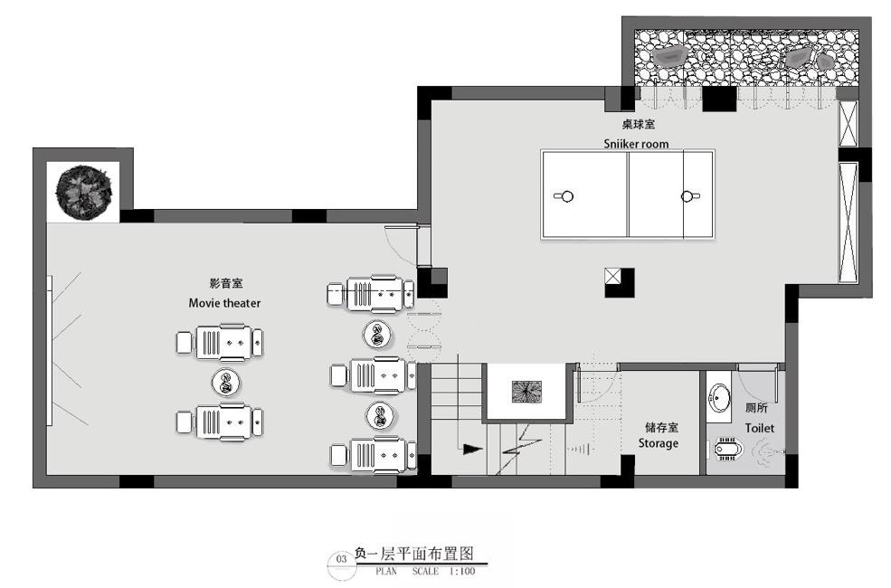 负一楼层娱乐室平面布局图 现代主义风格的设计讲求简约感,空间以白