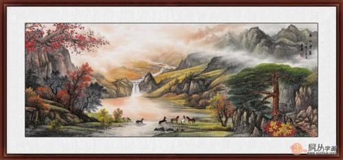 客厅装饰山水画推荐二,国画山水,风景秀丽 李林宏田园装饰画《山含嫩