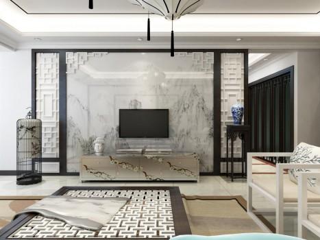 象邦电视背景墙打造新中式文化居所