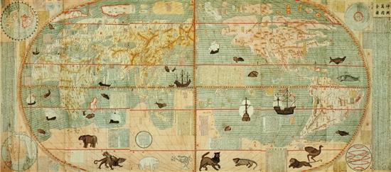 利玛窦坤舆万国全图168×382cm 南京博物院藏