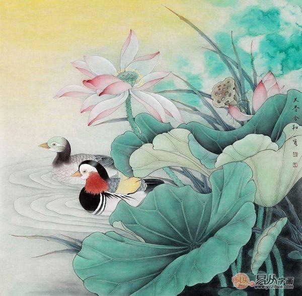 家里适合挂什么画 手绘荷花图让生活和和美美