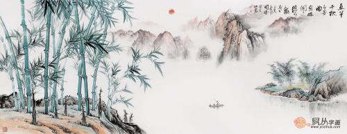 李国胜新品六尺横幅山水竹子风景画《直竿千秋》【作品来源:易从网】