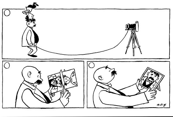 """《加工照片》 当然了,我同样也喜欢把孩子放在膝盖上读书给他听。想起来了,有一本书我没有""""读"""",而是我们父子俩一起""""看""""的,这本书就是卜劳恩的《父与子》。说起《父与子》,真是惭愧了,作为一个乡下人,我在1987年的冬天才第一次看到这本早就风靡全球的杰作。那一年我刚刚工作。有一天的下午,就在一间办公室里头,我的好几个同事聚在了一起,不时爆发出了欢乐的笑声。我挤过去一看,嗨,原来不是看蚂蚁,是在看漫画。我是一个骄傲的人,心里头想,幼稚嘛,就一本漫画,你们何至于呢"""