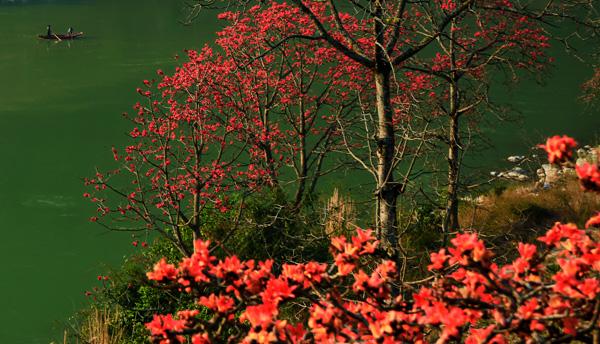 日出江花红胜火,春来江水绿如蓝