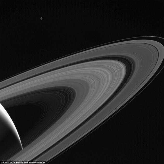 """在近期公布的一张图片中,土卫三似乎成了土星唯一的伴侣,沐浴在""""土星光辉""""中。这张图片是卡西尼号在距离土星约120万公里的位置拍摄的,显示出这颗中等大小的卫星被土星反射过来的阳光照亮的情景。"""