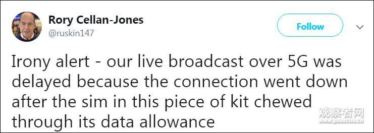 华为助力英国首个5G新闻直播 流量太大BBC措手不及