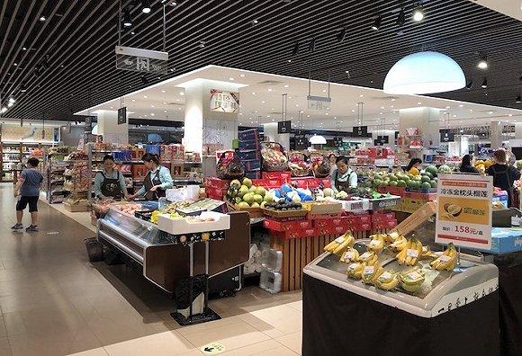 B1层超市、食品、生活用品区域。