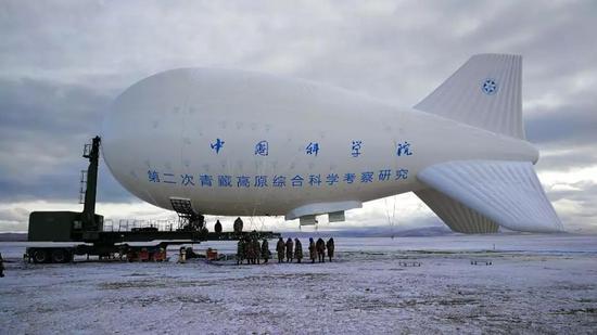 系留气球在纳木错地区进行科考